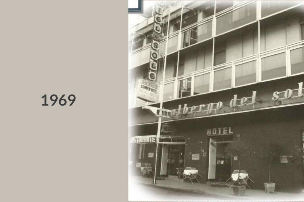 Foto storica del 1969 dell'hotel a Pompei